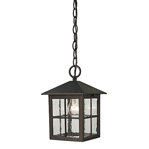 Outdoor Pendant Light Fixture with Seeded Glass in Hazelnut Bronze