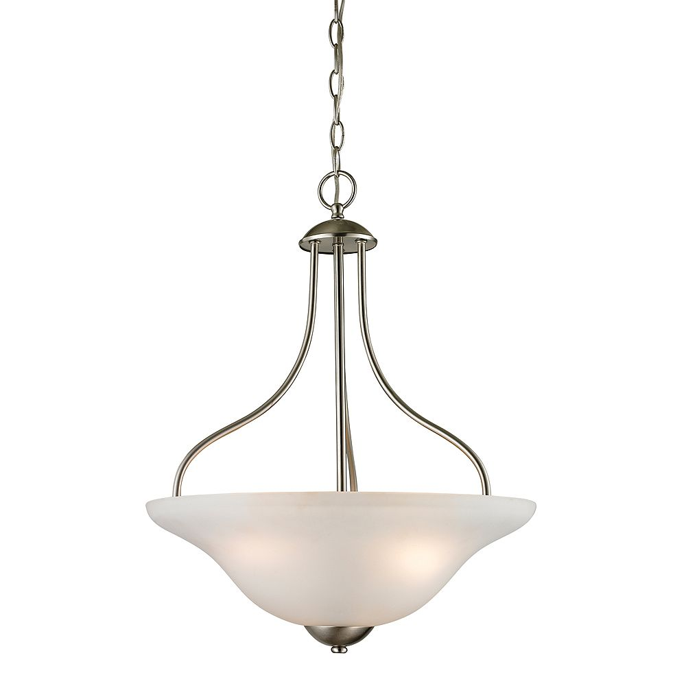 Titan Lighting 3 Light Pendant In Brushed Nickel