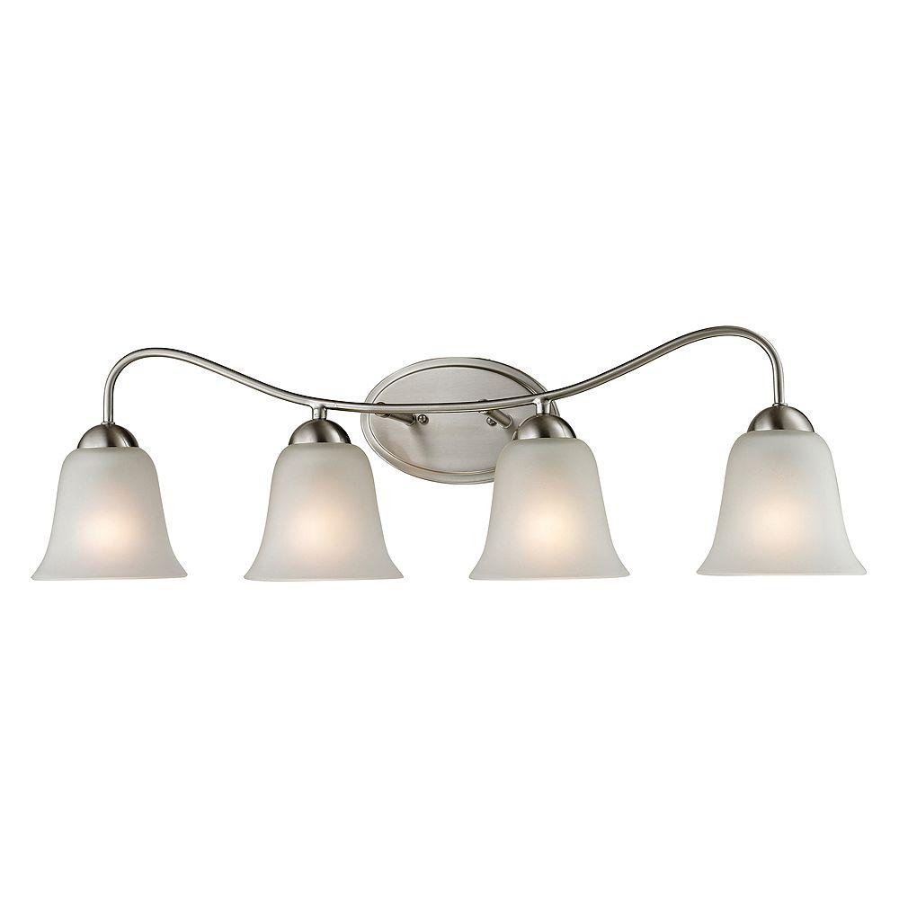 Titan Lighting Applique de salle de bain à 4 ampoules au fini nickel brossé