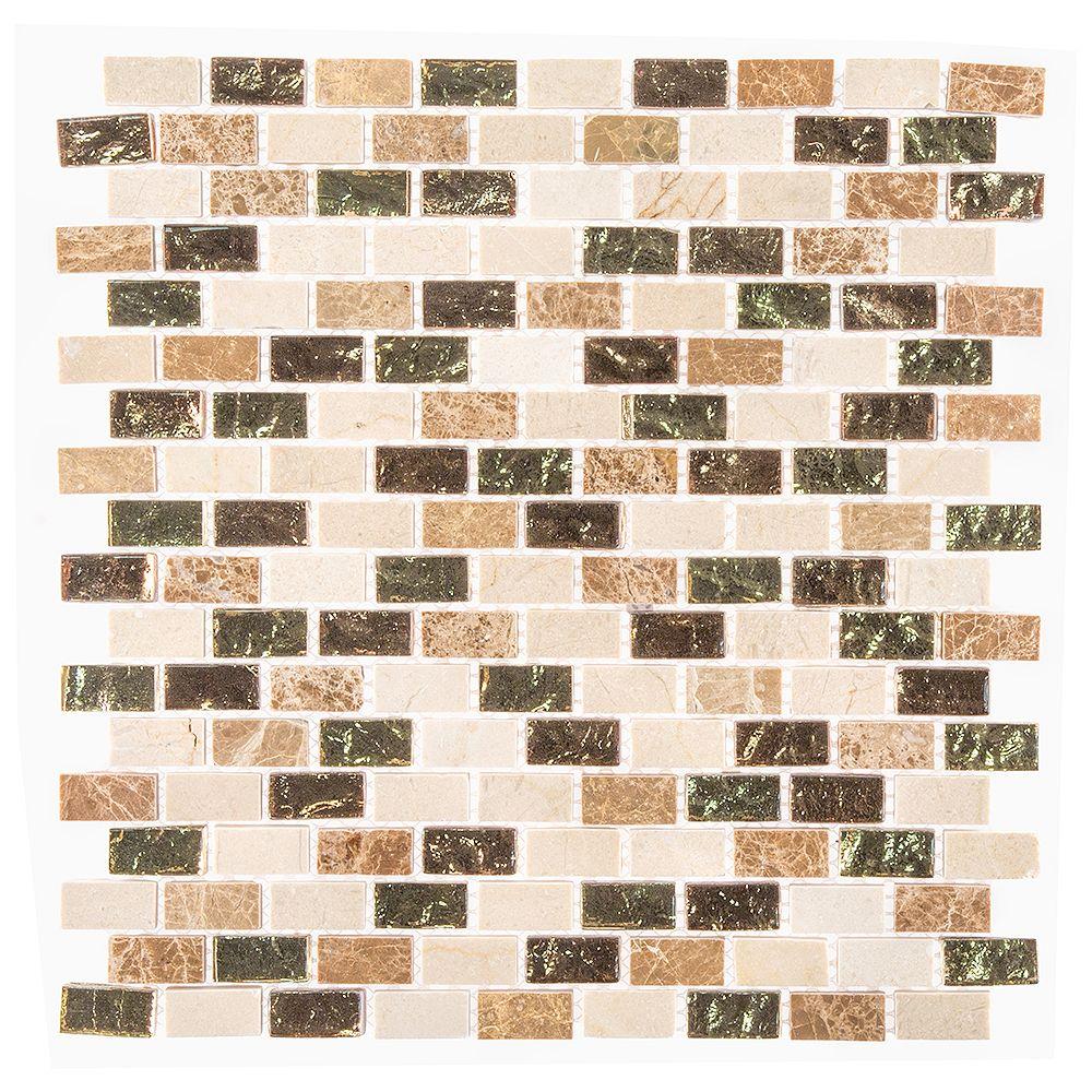 Jeffrey Court Molten 12-inch x 12-inch x 8 mm Glass/Marble Mosaic Tile