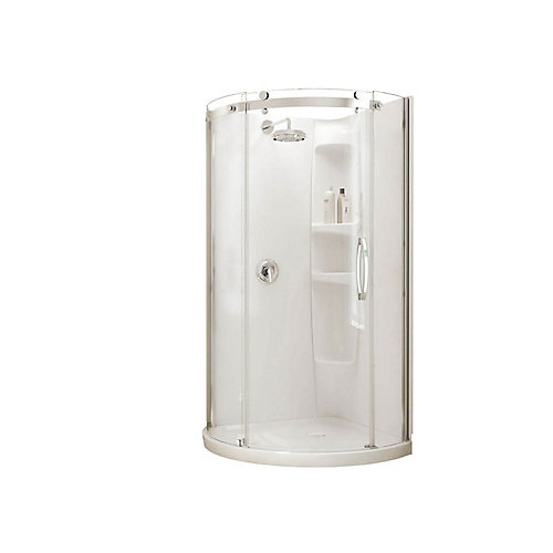 Olympia Corner-Fit 36-inch x 36-inch x 77 1/2-inch Round Shower Stall with Right-Hand Tempered Glass Door