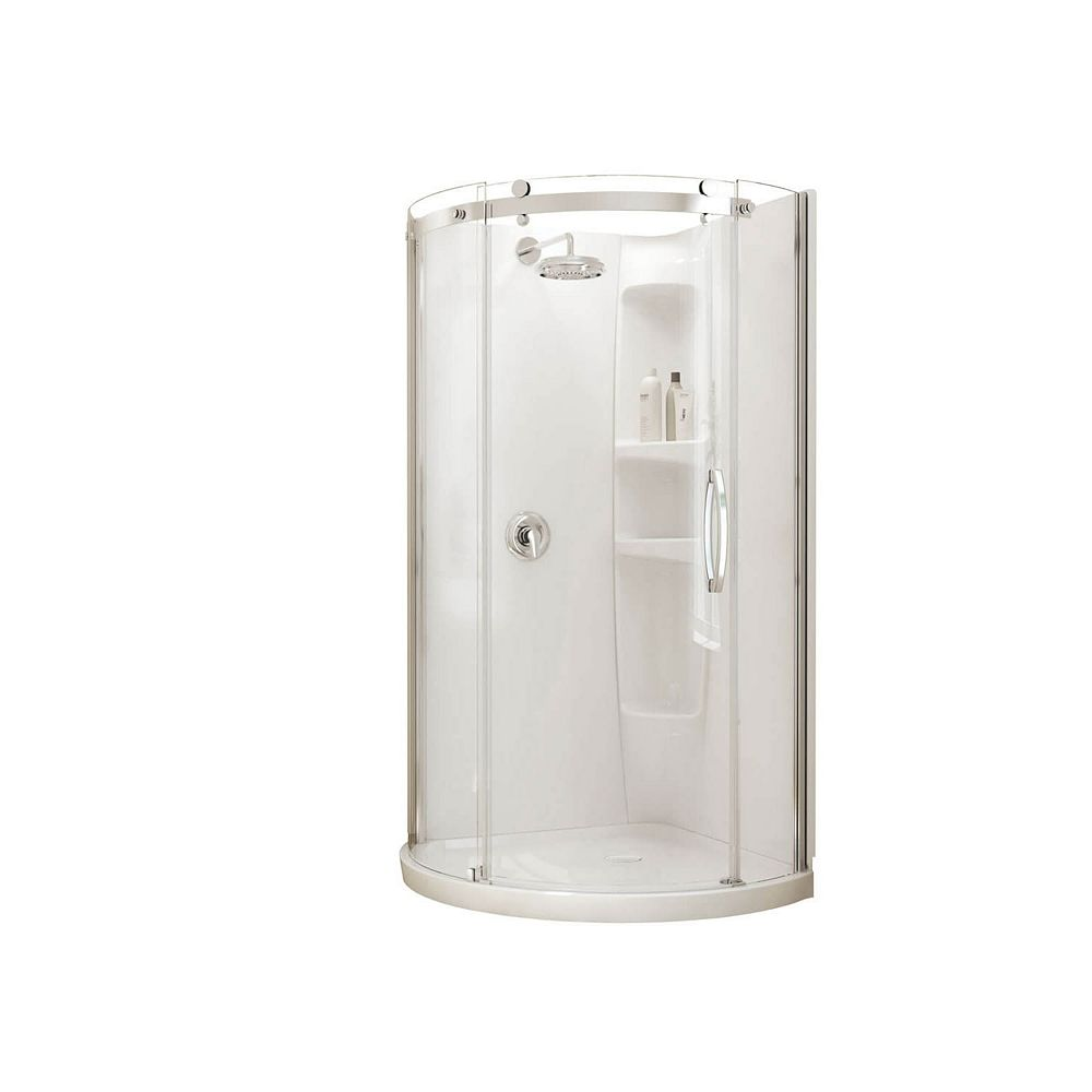 MAAX Olympia Corner-Fit 36-inch x 36-inch x 77 1/2-inch Round Shower Stall with Right-Hand Tempered Glass Door