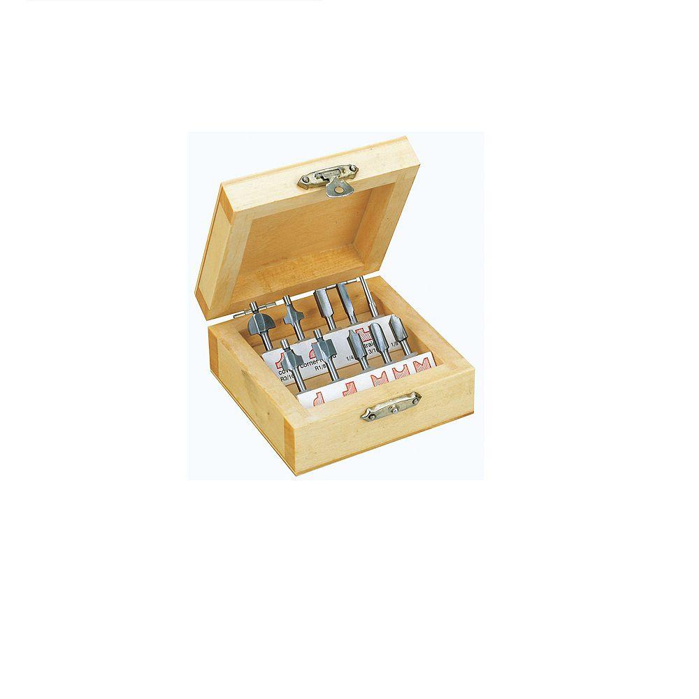 PROXXON 10-Piece Router Bit Set in Wooden Box