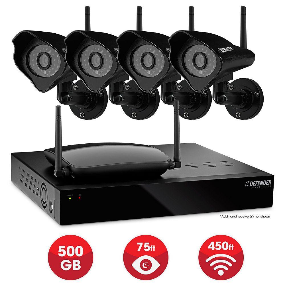 Defender Connected  - Home Security System - 4CH 500GB DVR 4x520TVL Digital Wireless Cameras