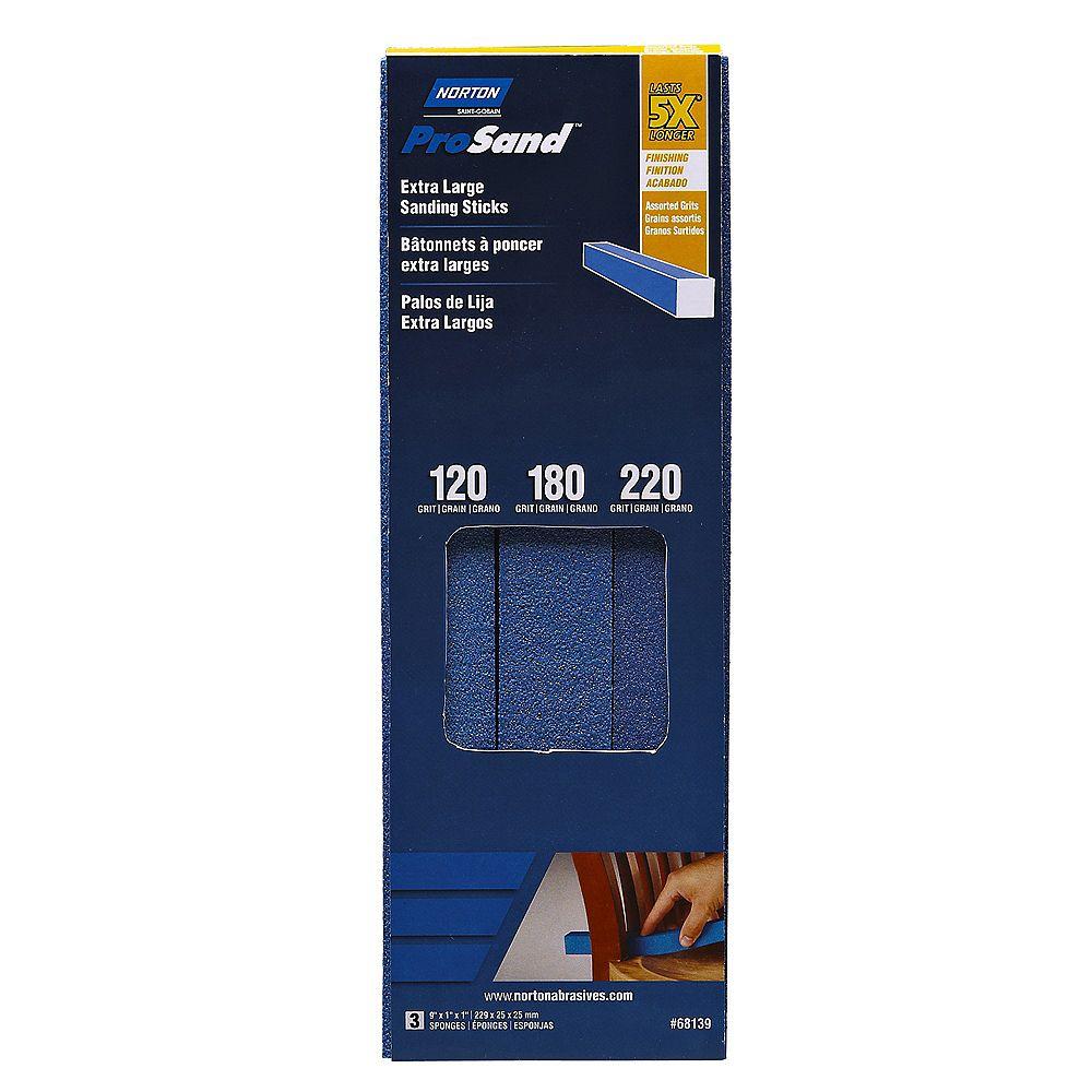 Norton Les bâtonnets abrasives ProSand  Extra Larges  à grains assortis 120/180/220