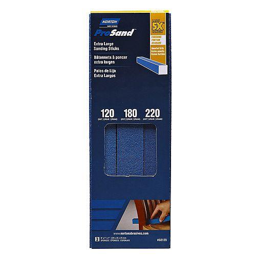 Les bâtonnets abrasives ProSand  Extra Larges  à grains assortis 120/180/220