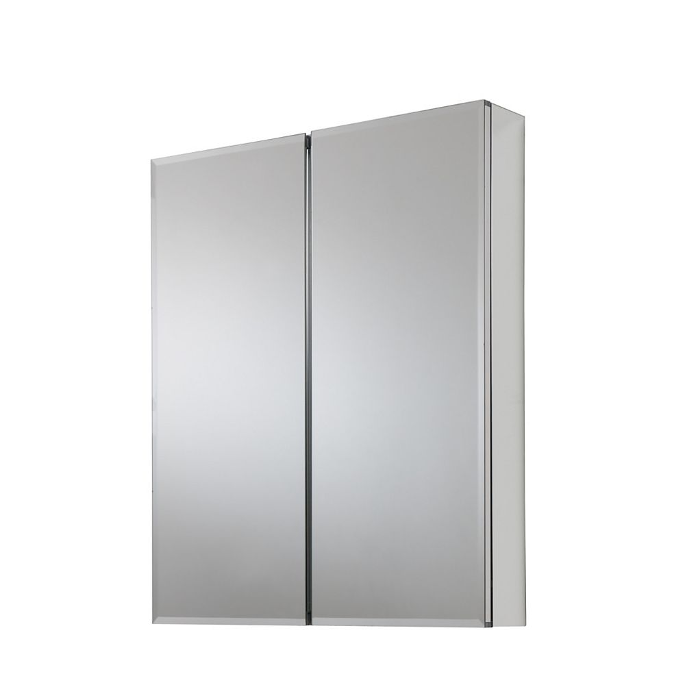 Glacier Bay 24-inch x 29-inch Recessed or Surface Mount Medicine Cabinet with Bi-View Beveled Mirror in Silver