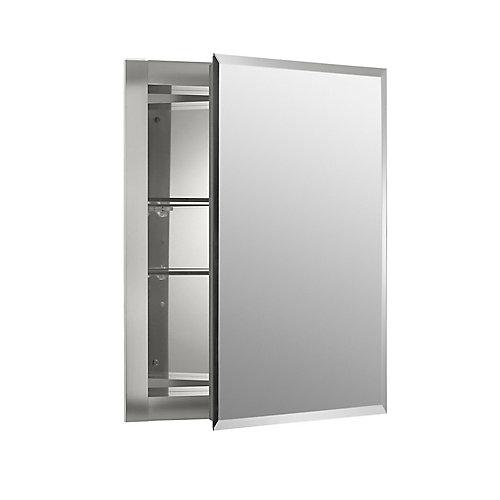 Armoire a pharmacie en aluminium, 16 x 20 po, avec une porte a miroir et bords biseautes.