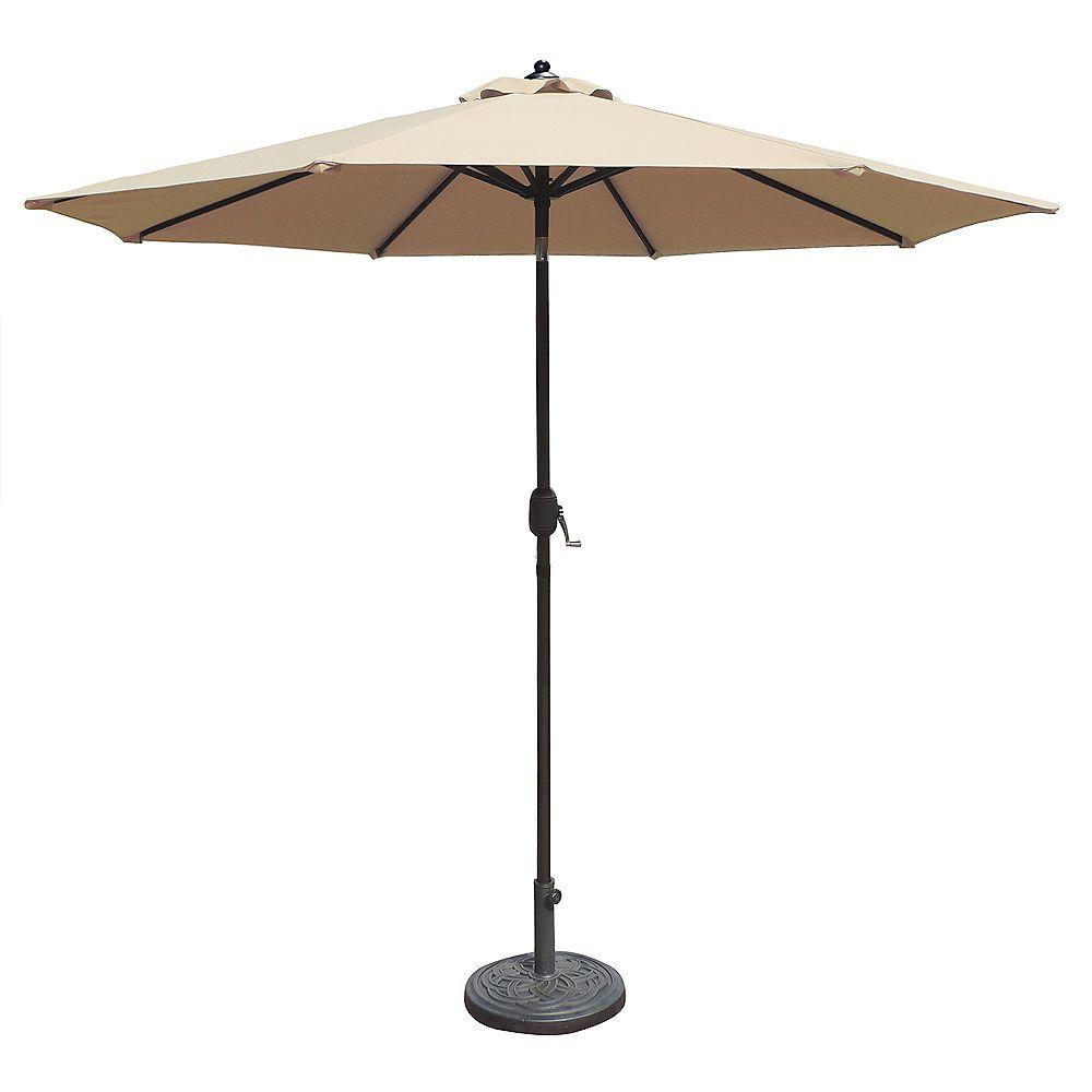 Island Umbrella Mirage parasol de marché octogonal de 2,74 m (9 pi) avec inclinaison automatique en oléfine champagne