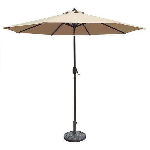 Mirage parasol de marché octogonal de 2,74 m (9 pi) avec inclinaison automatique en oléfine champagne