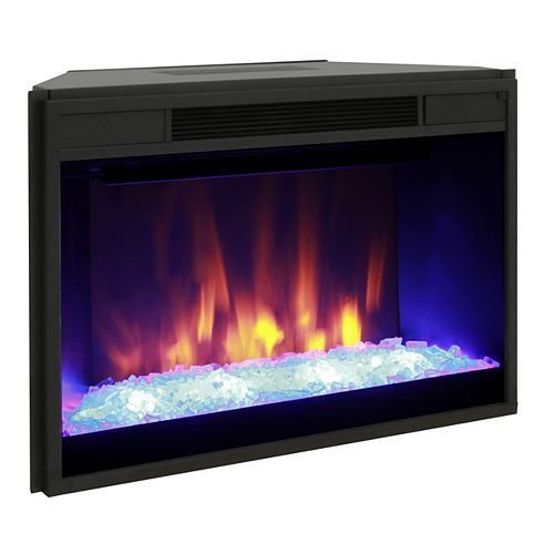 28-inch Widescreen Full View Electric Firebox Mantel Insert with Contemporary Crushed Glass Bed