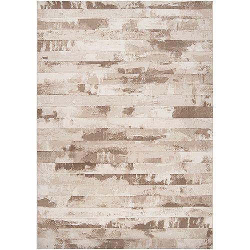 Carpette d'intérieur, 5 pi 3 po x 73 pi 6 po, style contemporain, rectangulaire, havane Hurtado
