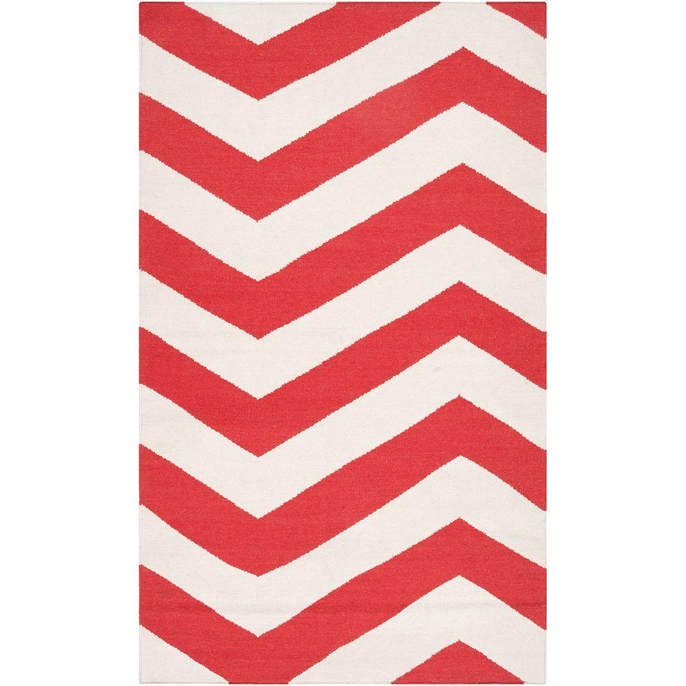 Artistic Weavers Carpette d'intérieur, 5 pi x 8 pi, à poils longs, style contemporain, rectangulaire, rouge Franca