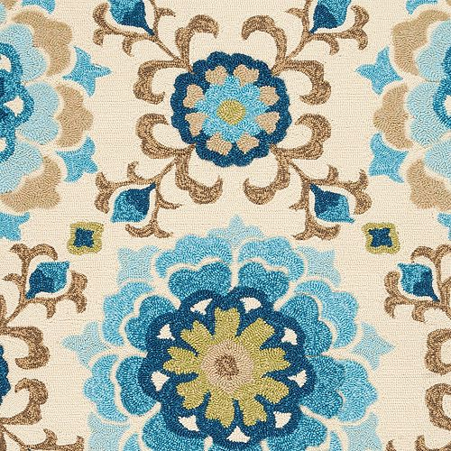 Aceval Blue 8 ft. x 10 ft. 6-inch Indoor/Outdoor Transitional Rectangular Area Rug