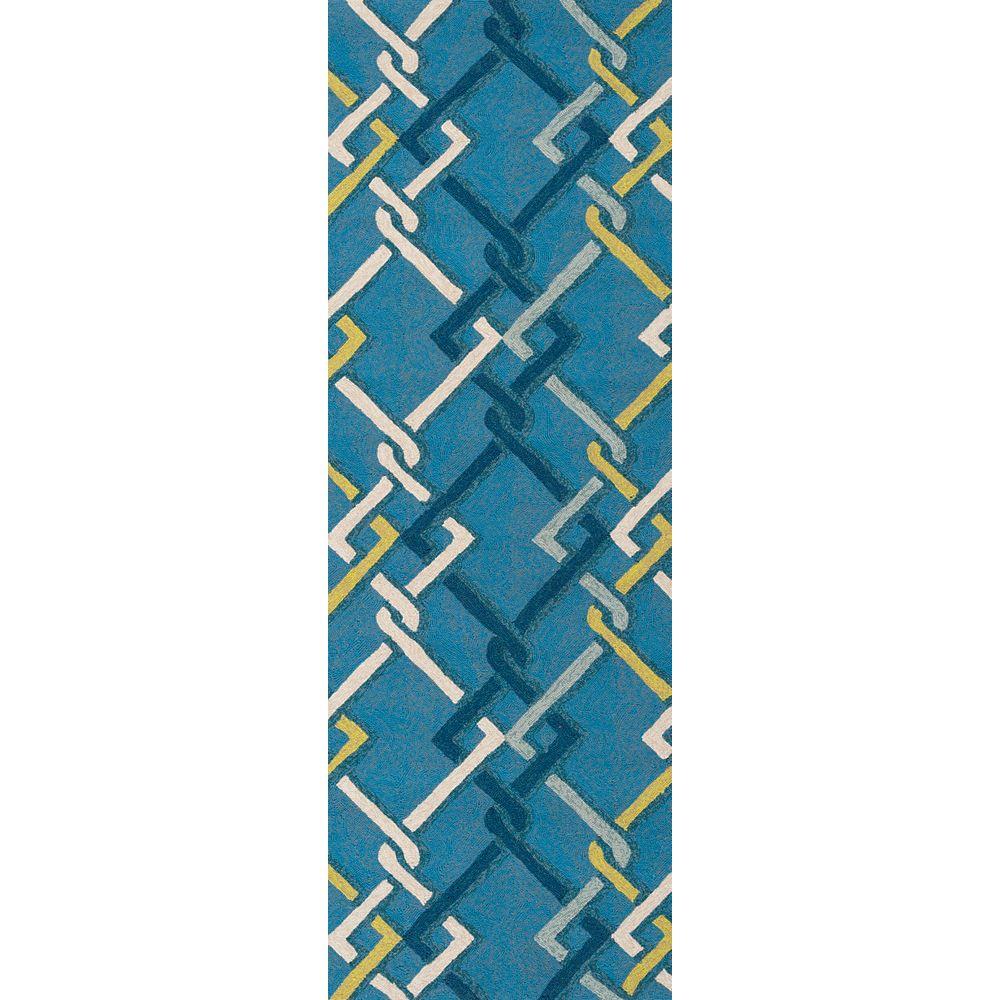 Artistic Weavers Tapis de passage d'intérieur/extérieur, 2 pi 6 po x 8 pi, style transitionnel, bleu Baxta