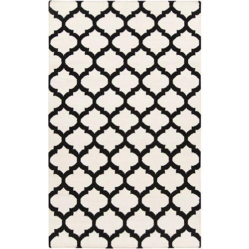 Saffre Off-White 5 ft. x 8 ft. Indoor Contemporary Rectangular Area Rug