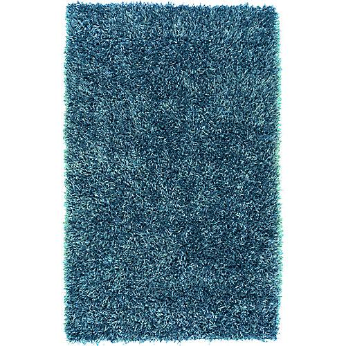 Carpette d'intérieur, 5 pi x 8 pi, style transitionnel, rectangulaire, bleu Gualla