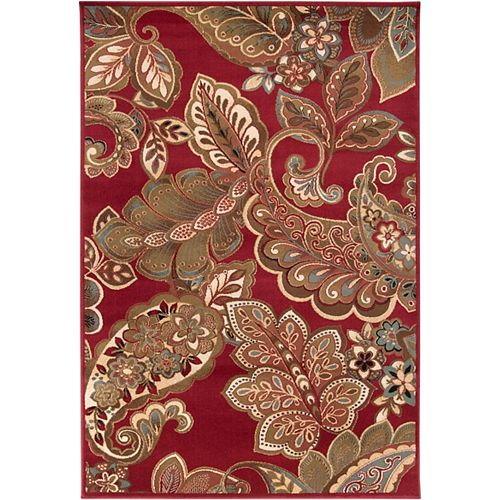 Nickerie Red 5 ft. 3-inch x 7 ft. 6-inch Indoor Transitional Rectangular Area Rug