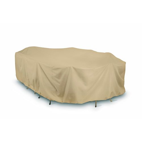 144-inch Oval / Rectangular Outdoor Table or Chat Set Cover in Khaki