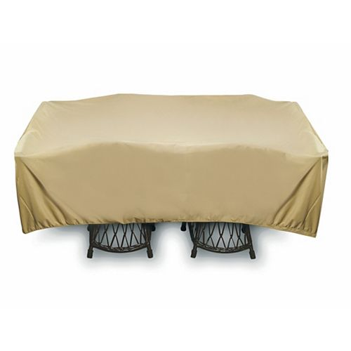 96-inch Square Outdoor Table or Chat Set Cover in Khaki