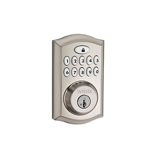 Satin Nickel Keyless Entry Deadbolt with SmartCode 10