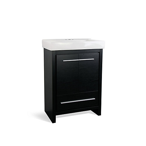Romali 24-inch W 1-Drawer 2-Door Freestanding Vanity in Black With Ceramic Top in White