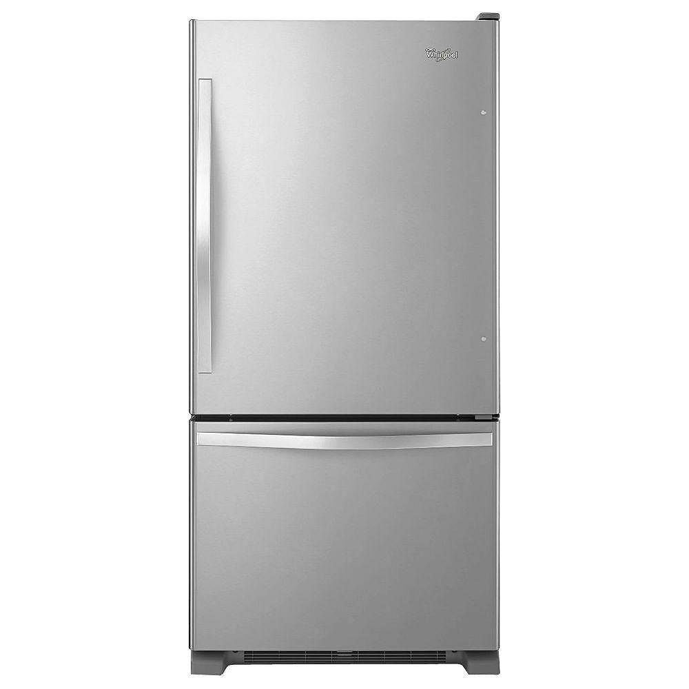 Whirlpool 33-inch W 22 cu. ft. Bottom Freezer Refrigerator in Stainless Steel - ENERGY STAR®