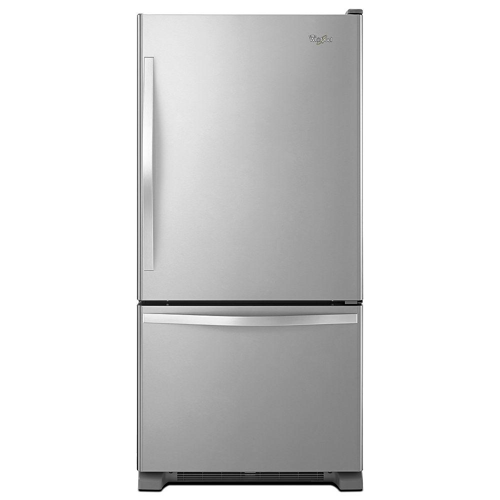 Whirlpool 30-inch W 19 cu. ft. Bottom Freezer Refrigerator in Stainless Steel - ENERGY STAR®