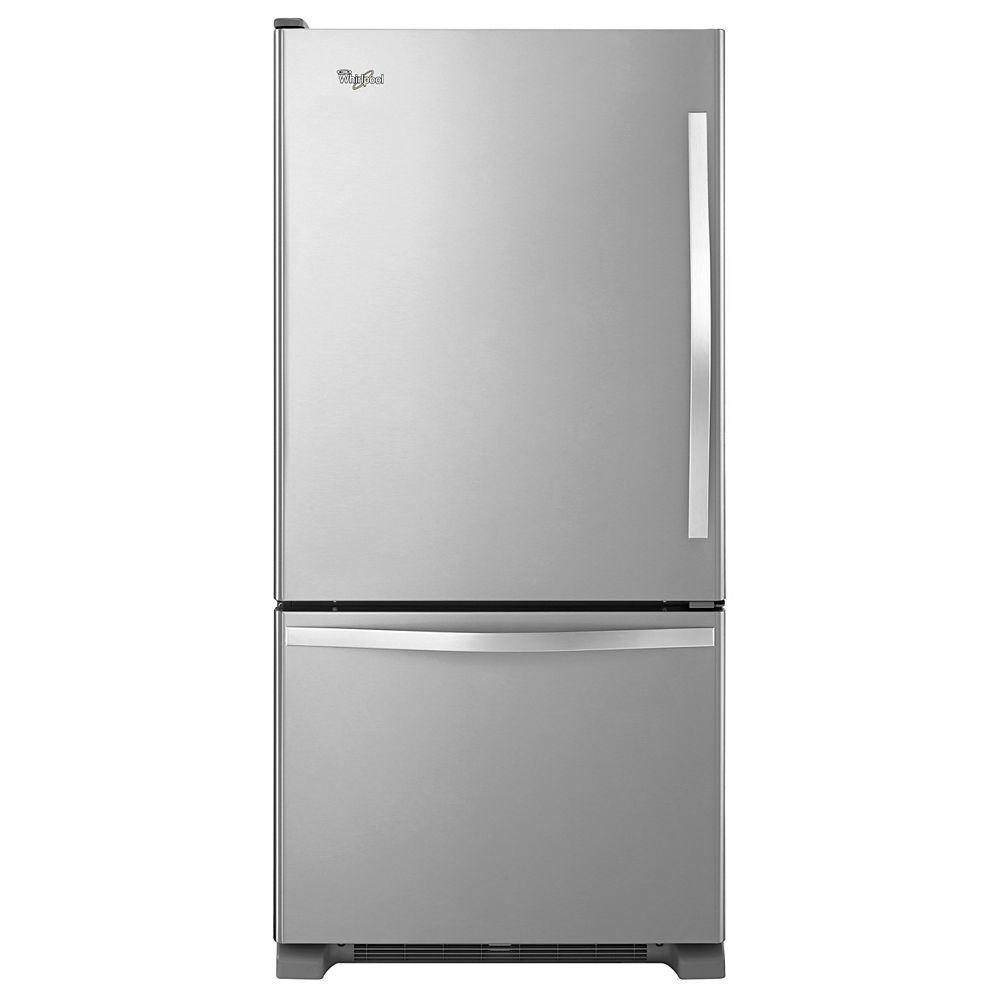 Whirlpool 30-inch W 19 cu. ft. Bottom Freezer Refrigerator in Monochromatic Stainless Steel - ENERGY STAR®
