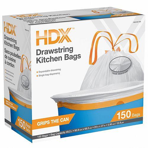 Les sacs de cuisine blancs HDX 49.2L
