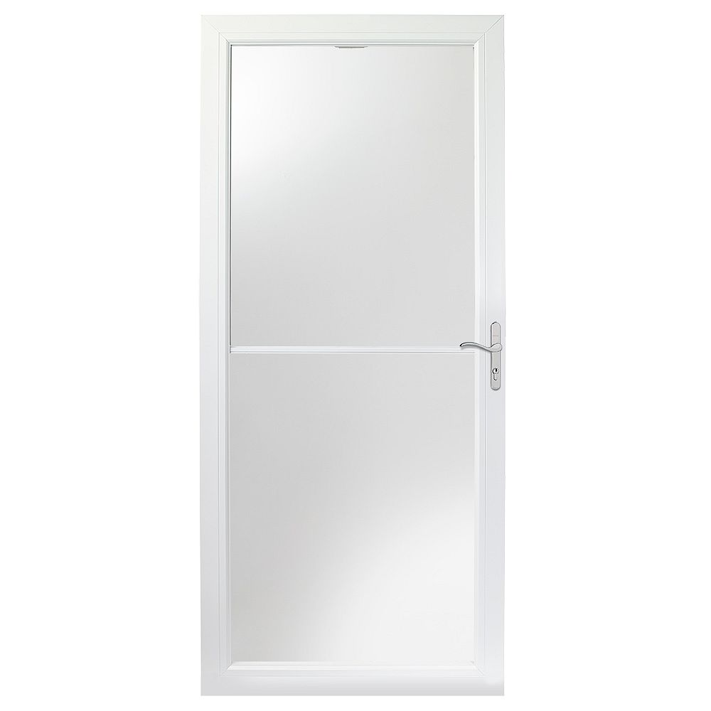 Andersen 34-inch 2500 Series White Self-Storing Storm Door with Nickel Hardware