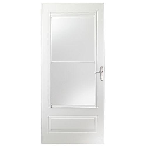 Porte moustiquaire de 36 po de la série 400 en blanc avec quincaillerie en nickel