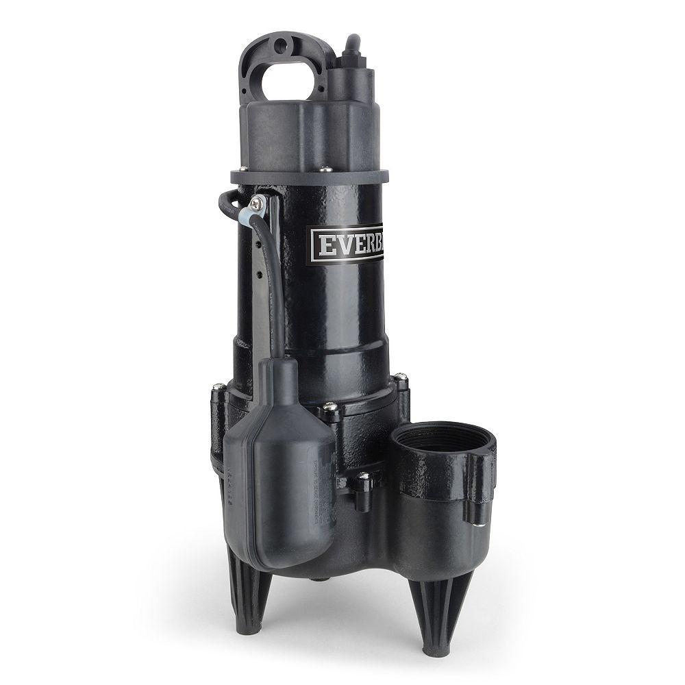 Everbilt Pompe à eaux usées, Résidentiel, 5700GPH, 1 / 2HP, Fonte, Grand Angle on / off