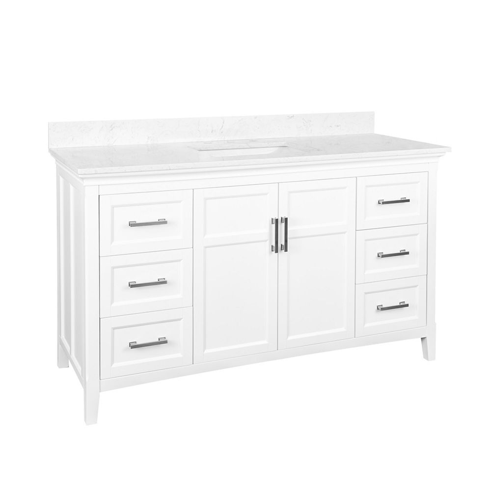 Foremost Abbott 58 Inch W Vanity Combo In White Finish With Marble Top In Carrara White The Home Depot Canada