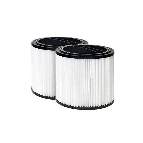 Ensemble de 2 cartouches filtrantes standard de rechange pour aspirateur pour déchets humides/secs