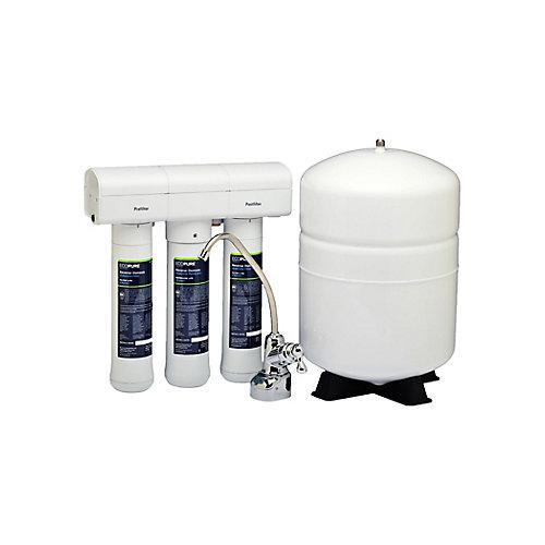 Système d'hyperfiltration de l'eau pour dessous d'évier contre le chlore, le plomb et les microbes