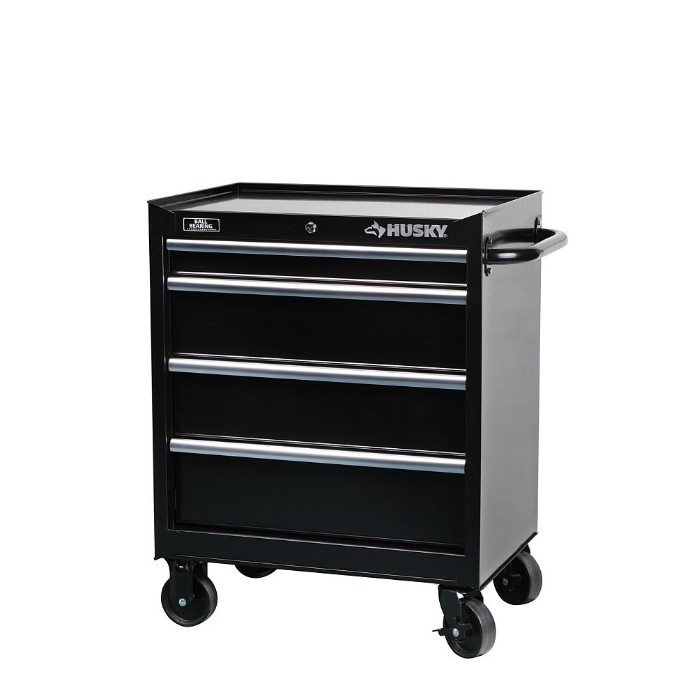 Husky 27-inch W 4-Drawer Mobile Tool Storage Cabinet in Black