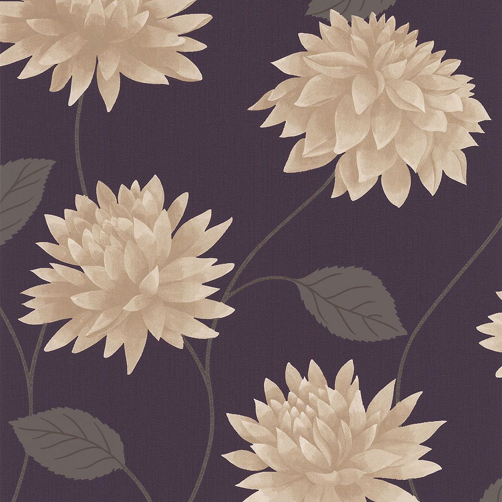 Graham & Brown Romance Papier Peint Pourpre/Crème
