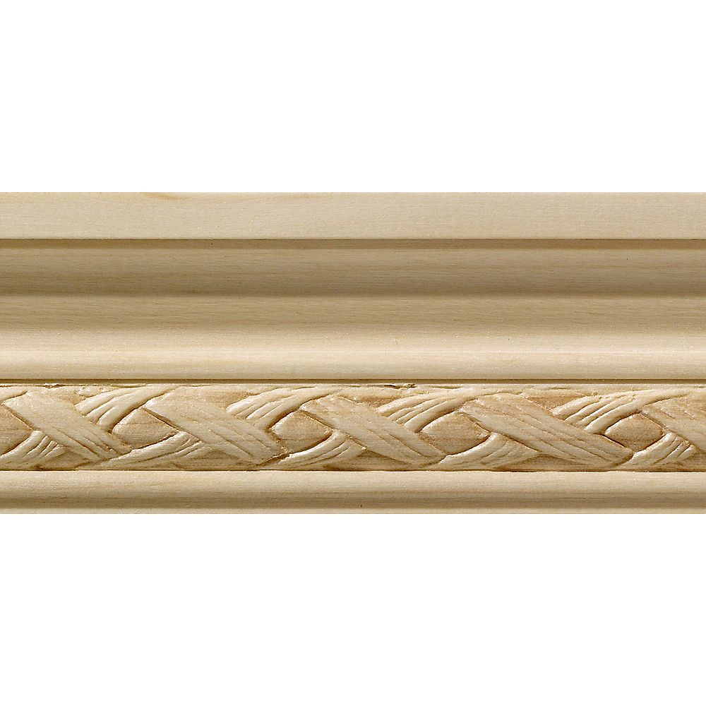 Ornamental Mouldings White Hardwood Loose Weave Small Chair Rail Moulding 1/2  Inch x 1-3/4  Inch x 8  Feet