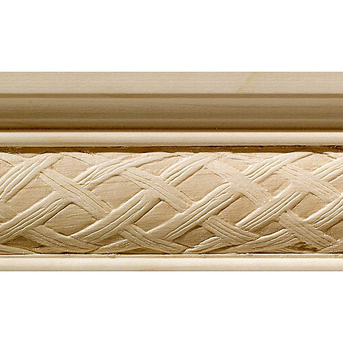Ornamental Mouldings White Hardwood Loose Weave Large Chair Rail Moulding 1/2  Inch X 2-1/4  Inch x 8  Feet