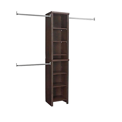 Impressions 4 ft. to 9 ft. W Narrow Closet Kit in Chocolate