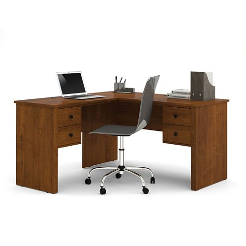 Somerville 53.5-inch x 29.5-inch x 57.5-inch L-Shaped Computer Desk in Brown