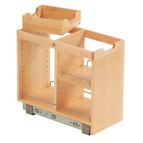 FindIT Birch Base Cabinet Organizer Pull out with Slide - 10-3/4 x 19-1/2 x 22-1/8