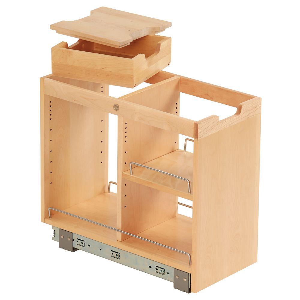 Ornamental Mouldings Unité de rangement de base coulissante en bouleau avec rails FindIT -10 3/4 x 19 1/2 x 22 1/8