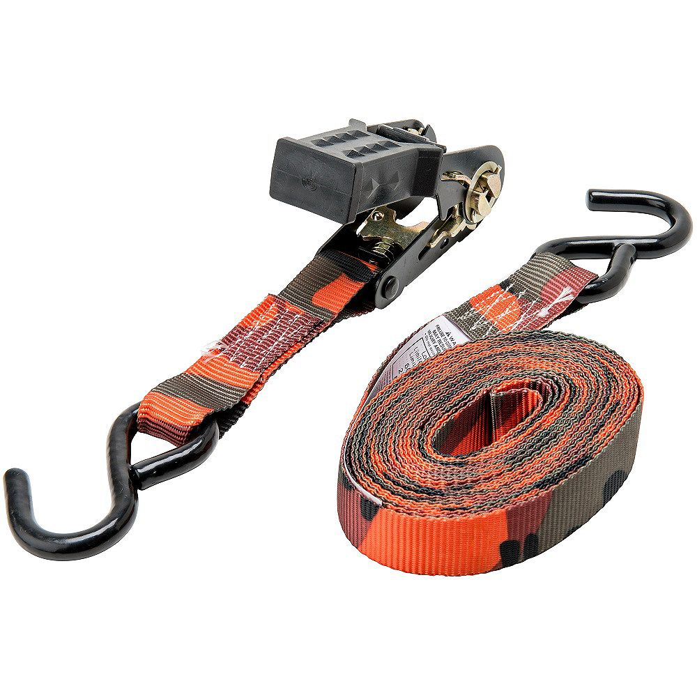KEEPER 16 Feet.  x 1 Inch.  Ratchet Tie-Down, Blaze Cam