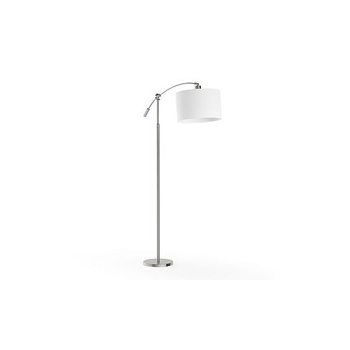 Hampton Bay 63.75-inch Brushed Steel Adjustable Height Arc Lamp with White Fabric Shade