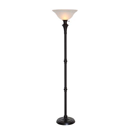 Lampadaire avec diffuseur, 72,8po, fini bronze et verre d'albâtre blanc