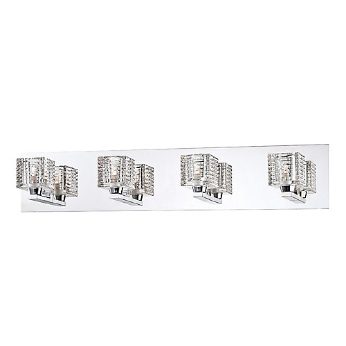 Applique de salle de bains Olivet, chromée, 4ampoules, diffuseurs en verre cristallin