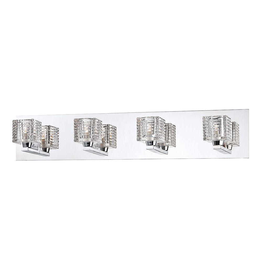 Hampton Bay Applique de salle de bains Olivet, chromée, 4ampoules, diffuseurs en verre cristallin
