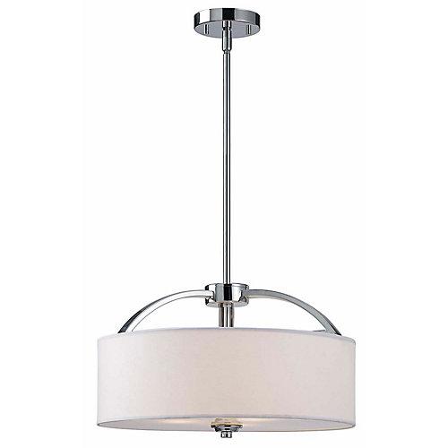 MILANO 3 lumière lustre en chrome, tissu blanc ombre en verre dépoli